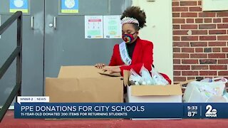11-year-old donates 200 items for returning students at Baltimore City schools