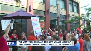 Protestors demand Spot Coffee to let unionize