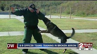 K-9 officer teams training in Broken Arrow
