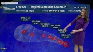 Tropical Depression 17 forms in the Atlantic Ocean