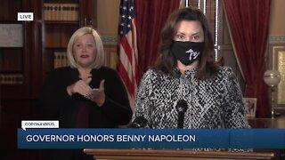 Governor Whitmer pays tribute to Benny Napoleon