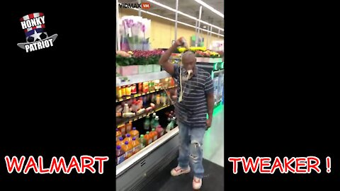 WALMART SHOPPER TWEAKING ON DRUGS WRECKS STORE & HIMSELF !