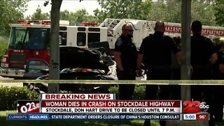 Woman dies in crash on Stockdale Highway