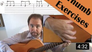 Thumb Exercises 1, 2 and 3 for the Flamenco Guitar