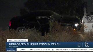 Pursuit ends in crash in Chula Vista