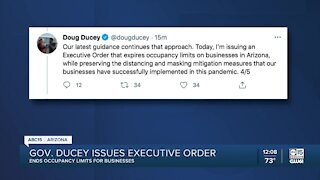 Arizona Gov. Doug Ducey lifts occupancy limits on businesses