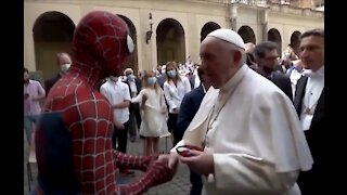 Pope Francis Meets Spider Man