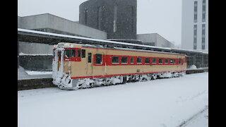 South Hokkaido Diesel car leaving Hakodate Station