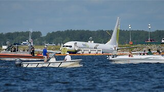 Investigation begins into Boeing 737 that slid off runway into river