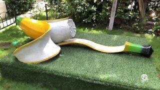 Fruit sculptures of unusual size