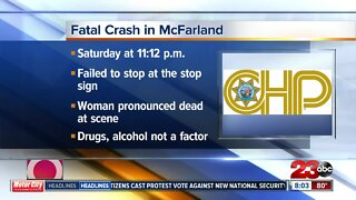 Woman dies after driver runs stop sign