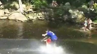Friends have fun on natural 'water park'