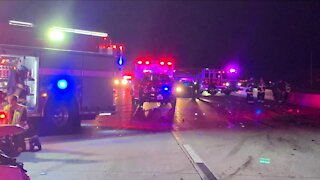 1 dead, 9 injured in multi-vehicle crash that closed down I-25 at Happy Canyon Road