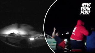 Trucks slams into patrol car in this messy highway crash
