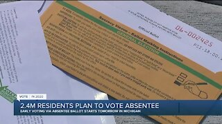 2.4 million residents plan to vote absentee