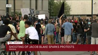 Protests continue over shooting of Jacob Blake Monday evening