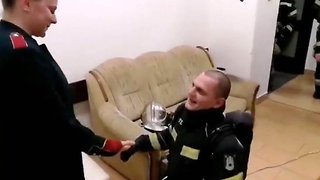 Firefighter gets unexpected proposal after blindfolded exercise