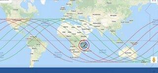 risk zone Chinese rocket may crash into. Live tracking China rocket.