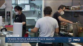 Fewer people wearing masks