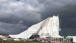 Strong Winds Rip Marquee Tent Away During Storm Ali