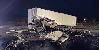 I-15 reopens after deadly crash involving semi-trucks near Mesquite