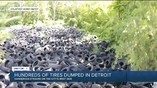 Hundreds of tires dumped in Detroit