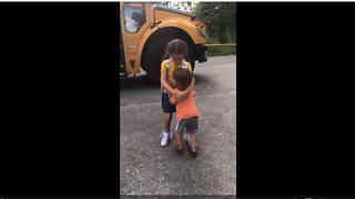 Cute kid hugs sister when she gets off school bus