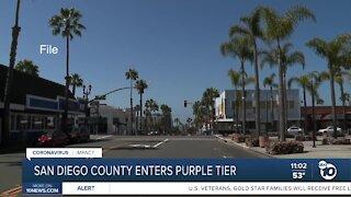 San Diego County enters purple tier