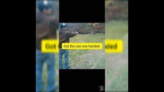 BashinBagBroz guy shoots shotgun target practice 1 handed