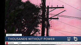Thousands left without power amid high winds