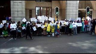 ANC protest outside provincial legislature at Zille's Sopa (U7T)