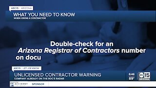 Unlicensed contractor warning: Company already on ROC's radar