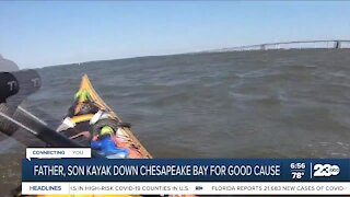Father-son duo kayak for good cause