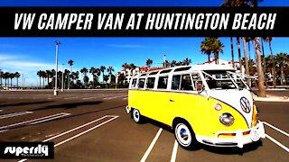 VW Camper Van at Huntington Beach California
