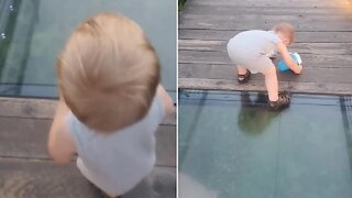 Toddler's priceless attempt to cross onto glass bridge
