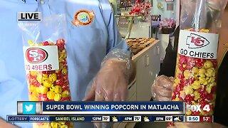 Noelani preparing Super Bowl popcorn
