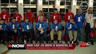 Honor Flight #38 arrives in Washington D.C.
