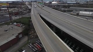 Drone footage shows empty I-95 in Canton during COVID-19 pandemic
