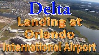 Delta flight landing at Orlando International Airport (MCO)