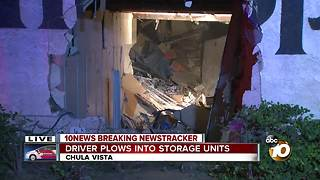 Driver plows into storage units