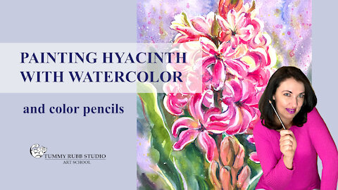 How to paint flowers: hyacinth with watercolor and color pencils