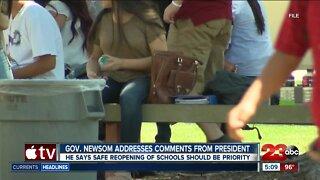 Gov. Newsom addresses comments from the president