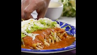Drowned Chicken Tacos with Red Sauce