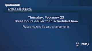 Early dismissal for Collier schools Thursday
