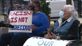 Cleveland American Indian Movement protests outside Progressive Field before home opener