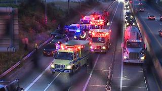 Four-car crash closes portion of I-77 southbound