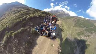 Tourist's truck trip on extremely dangerous mountain road