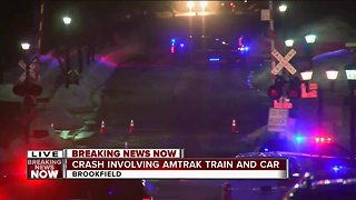 Amtrak train and car involved in crash in Brookfield