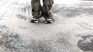 Hypnotizing slow motion of a frozen trampoline jump