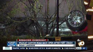 Car crashes, bursts into flames off Lakeside road